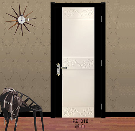 盼盼实木复合烤漆门PZ-018黑+白|室内门