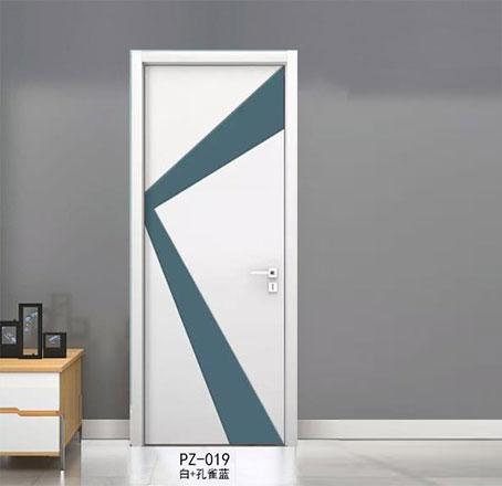 盼盼实木复合烤漆门PZ-019白+孔雀蓝|室内门