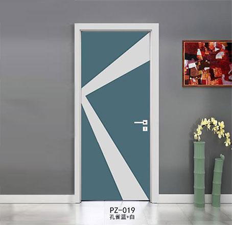 盼盼实木复合烤漆门PZ-019孔雀蓝+白|室内门