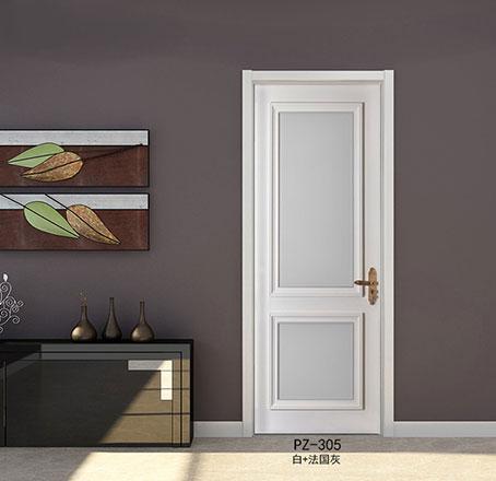 盼盼实木复合烤漆门PZ-305白+法国灰|室内门