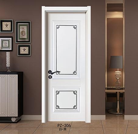 盼盼实木复合烤漆门PZ-306白+黑|室内门
