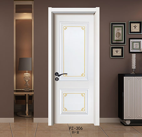 盼盼实木复合烤漆门PZ-306白+金|室内门