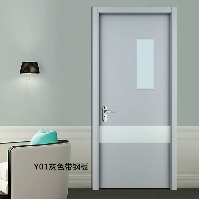 盼盼科技健康门Y01灰色带钢板|盼盼木门